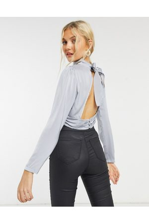In The Style X Shaughna high neck open back top in blue