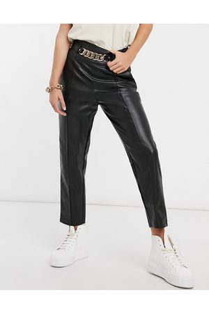 River Island Faux leather belted trouser in black