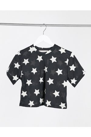 Outrageous Fortune Nightwear cropped t shirt in black star print