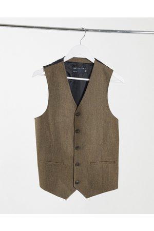 ASOS Wedding skinny wool mix suit waistcoat in camel herringbone