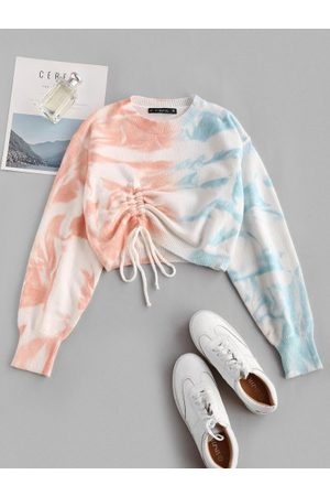 Zaful Crew Neck Contrast Tie Dye Cinched Sweater