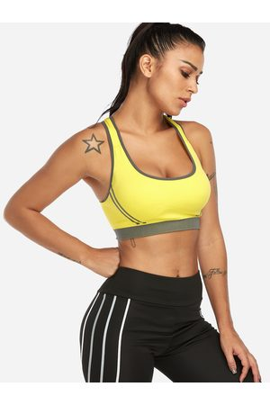 YOINS Backless Design Stripe Scoop Neck Wireless Sports Bra