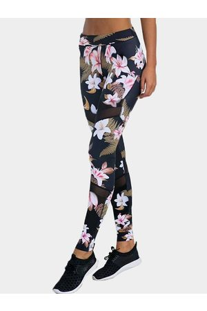 YOINS Active Random Floral Print Quick Drying High-waisted Leggings