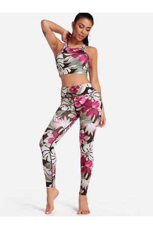 YOINS Floral Print Crew Neck Sleeveless High-waisted Tracksuit