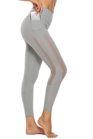 YOINS Side Pockets Patch Mesh High-Waisted Leggings