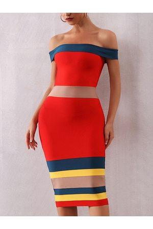 YOINS Red Striped Color Matching Off-the-Shoulder Dress