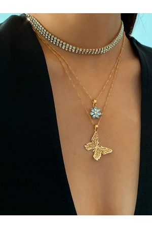 YOINS Gold Full Diamond Decorate Flower Butterfly Necklace