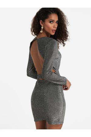 YOINS Backless Sequins Embellished Round Neck Long Sleeves Bodycon Dress