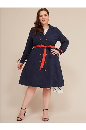 YOINS Plus Size With Belt Button Design Trench Coat