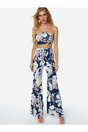 YOINS Random Floral Print Tube Top & Wide Leg Trousers Two Piece Outfits