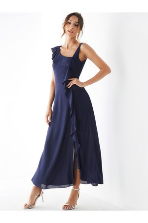 YOINS Navy Asymmetrical Ruffle Trim Slit Hem Dress