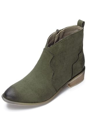 YOINS Mujer Botines - Suede Zipper Design Flat Ankle Boots