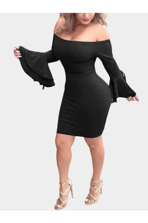 YOINS Off The Shoulder Flared Sleeves Mini Dress