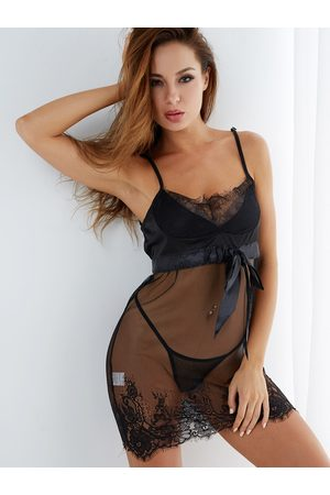 YOINS Sexy Deep V-neck Lace Trim Pajamas in with T-back