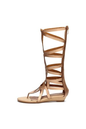 YOINS Golden Zip Back Caged Gladiator Flat Sandals