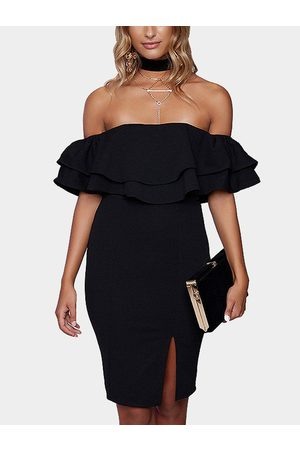 YOINS Off-the-shoulder Frill Party Dress in
