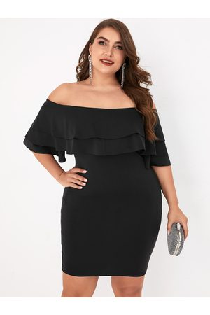 YOINS Plus Size Black Double Layer Off The Shoulder Half Sleeves Dress