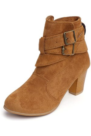 YOINS Buckle Point Toe Chunky Ankle Boots