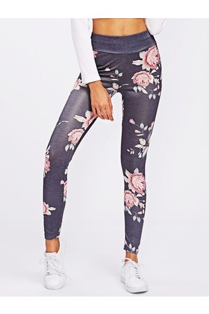 YOINS Active Rose Printed High Waisted Yoga Leggings in