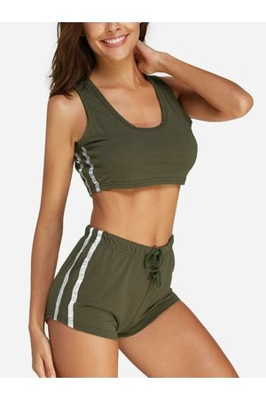 YOINS Stripe Round Neck Sleeveless Drawstring Waist activewear outfits