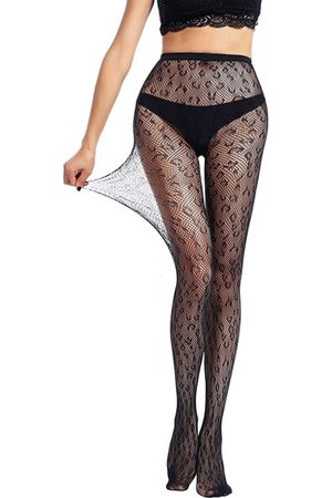 YOINS Black Fishnet Leopard Middle-Waisted Stockings