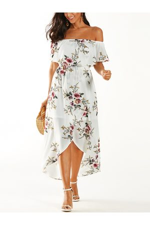 YOINS Tiered Floral Off The Shoulder Stretch Waistband Dress
