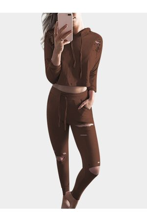 YOINS Coffee Ripped Details Long Sleeves Tracksuit