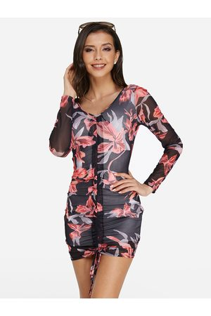 YOINS Floral Print Pleated Sexy Bodycon Dress