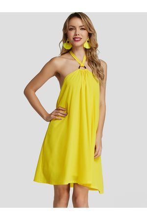 YOINS Neon Halter Strapless backless Chiffon Dress With Lining