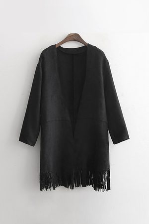 YOINS Suedette Long Sleeve Coat with Fringing