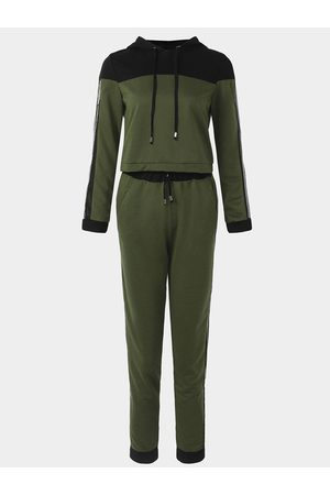 YOINS Active Net Yarn Hooded Design Tracksuit in