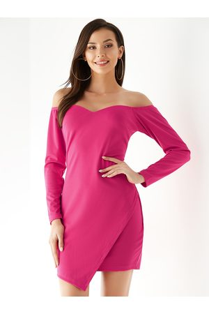 YOINS Rose Off The Shoulder Asymmetrical Hem Long Sleeves Dress