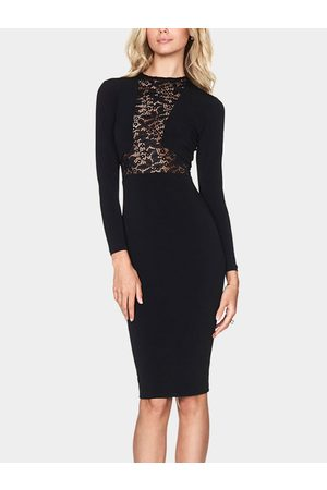 YOINS Lace Insert Round Neck Long Sleeves Midi Party Dress
