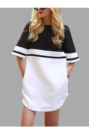 YOINS Active Stitching Stripe Contrast Color Sports Dresses in White