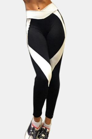 YOINS Active Contrast Color Stitching Quick Drying High Waisted Leggings