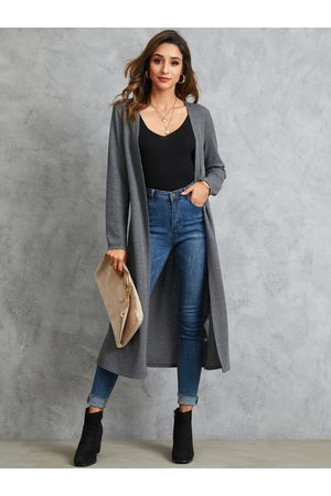 YOINS Dark Grey Open Front Long Sleeves Cardigan