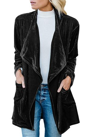 YOINS Black Side Pockets Lapel Collar Long Sleeves Trench Coat