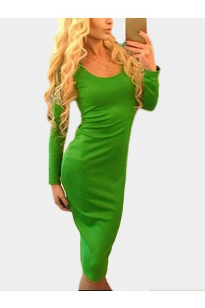 YOINS Lace-up Design Round Neck Long Sleeves Party Dress