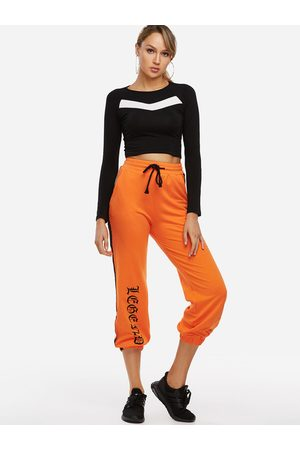 YOINS Active Letter Pattern Drawstring Waist Sports Pants in