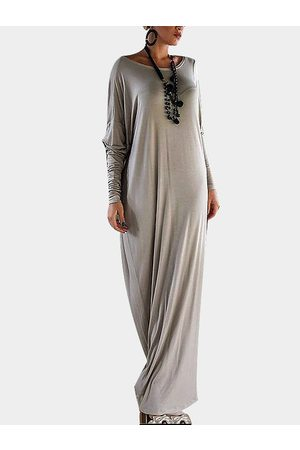 YOINS Long Sleeve Loose Fit Asymmetric Maxi Dress