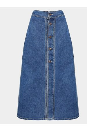 YOINS Button Through Denim Midi Skirt