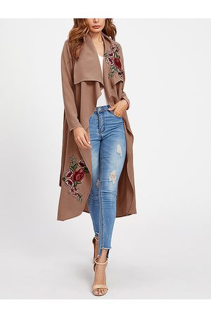 YOINS Lace-up Design Embroidered Long Sleeves Trench Coat