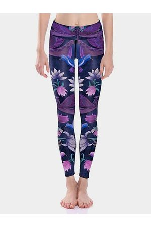 YOINS Active Comfy Radom Floral Print Quick Drying High Waist Leggings in