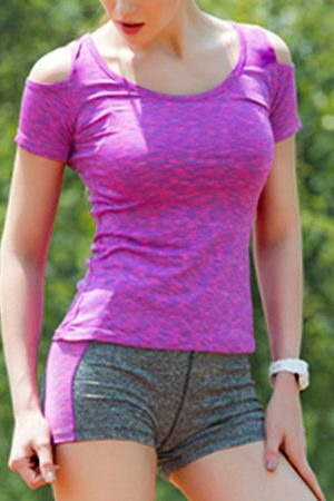 YOINS Magenta Cold Shoulder Quick-drying Top & Bodycon Shorts Tracksuit