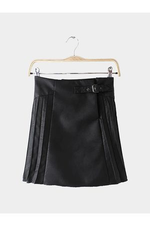 YOINS Leather Mini Skirt with Pleated Side