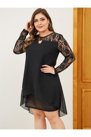 YOINS Plus Size Patchwork Round Neck Long Sleeves Dress