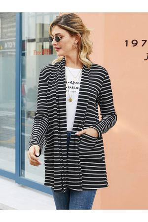 YOINS Black Side Pockets Striped Long Sleeves Cardigan