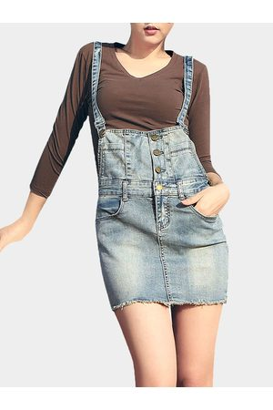 YOINS Denim Button Pinafore Skirt
