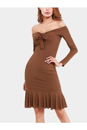 YOINS Tie-up Front Design Off The Shoulder Long Sleeves Rib Dress