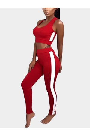 YOINS Active Contract Color Sleeveless Tracksuit in